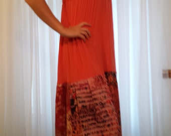 Orange Sunshine Gypsy Hippy Boho T Shirt Dress Tattered Mosaic Sz M - L