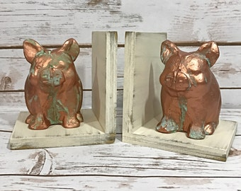 Copper Pig Figurines Set of Bookends//Available in a Variety of Colors//Farmhouse Decor//Gifts Under 25//Gifts for Her//Handmade in the USA