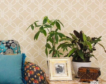 Macrame Knots Wall Stencil for DIY Wallpaper Look