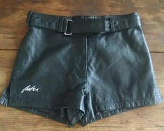 Leather Hot Pants Fubu the Collection Soft Black Leather Short Shorts Festival Coachella