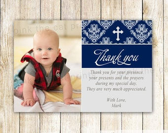 Baptism Thank You Card Note - Boy Christening First Communion Dedication Photo Navy Blue Printable