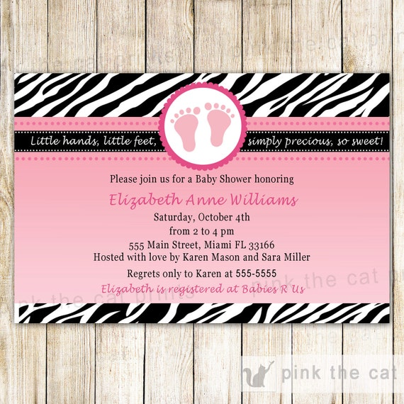 Baby Shower Invitation Card - Pink Feet Invitation Zebra Baby Shower Zebra Invitation Diva Invitation Pink Zebra Baby Shower Printable Card