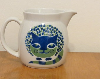 Arabia Finland Cat Milk Pitcher Jug Green Blue Kaj Franck Blue Green