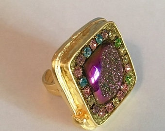 HOLIDAY SALE Titanium druzy and austrian crystal ring