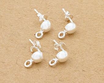 2 pairs of 925 Sterling Silver Post Stud Earrings Findings, 6mm Half Ball with Opened Loop :tm0158