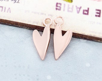 2 of 925 Sterling Silver Rose Gold Vermeil Style Heart Charms 6x12 mm. :pg0368