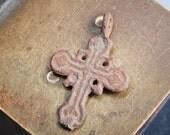 Antique brass bronze Old cross, Christian Cross pendant. Christian church