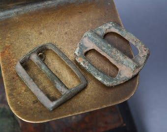Set of 2 Antique small brass parts of belt buckle, connectors. Primitive finding.