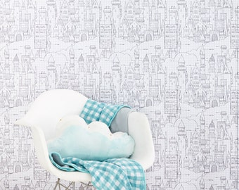 Sarah Jane Castle Plans WALLPAPER - Removable, Re-usable, FABRIC, Eco-Friendly, Non-Toxic.  No Mess. No Glue Pop & Lolli