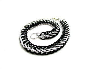 Black & Silver Half Persian 4:1 Chainmaille Bracelet