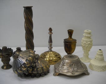 Vintage Lamp Brass Footings Bases Parts And Pieces Bulb Holders Over 9 Lbs