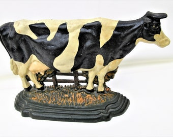Vintage Cast Iron Door Stop | Cow Doorstop | Farm Animal Door Stop | Black White Cow