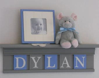 Grey Nursery Wall Decor / Room Decor - Personalized Baby Gift - Gray Shelf with Light Blue and Grey Wooden Name Letter Signs