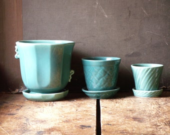 Vintage Set of Three Aqua Blue Pottery Planters with Integrated Saucers - Midcentury Decor