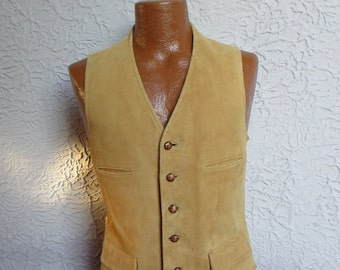 50's Vintage Men's Brooks Brothers Chamois Leather Vest Waistcoat sm/med