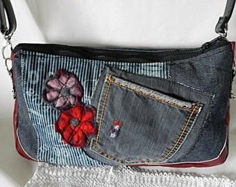 Shoulder bag in denim and imitation leather
