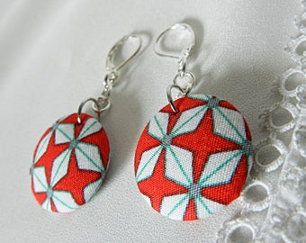 Red and white graphic fabric earrings