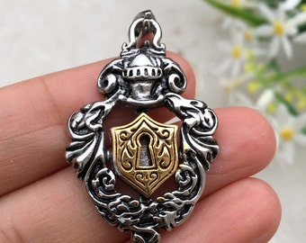 2 Colored Shield Stainless Steel Pendant-Men Jewelry