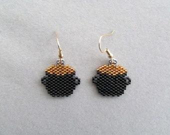 Beaded Leprechaun Pot Of Gold Earrings