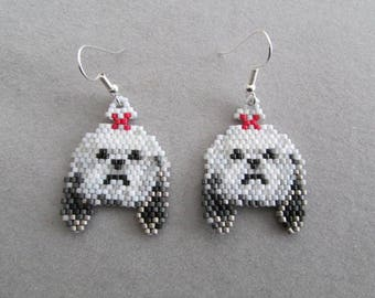 Beaded Shih-Tzu Earrings