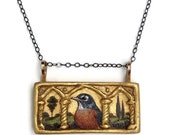 Hand Painted Robin Triptych Pendant