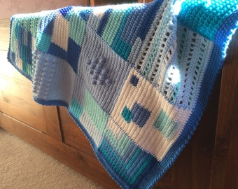 Blue Crochet Blanket - MultiColoured and Textured Squares