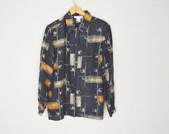 Vintage 90s Black Geometric Tropical Natural Oversized SILK Blouse Shirt // womens medium