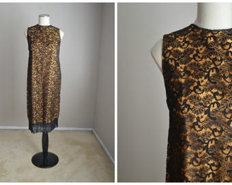 vintage gold and black lace formal maternity dress -- womens small --34-38-38