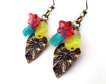 Leaf charm flower earrings - antiqued brass, colorful glass flower beads, posy dangles, Boho earrings, blue red yellow floral bead jewelry