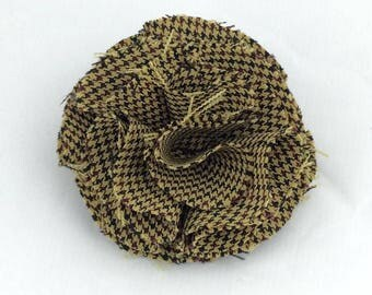 Textile flower brooch,Mustard check fabric Flower brooch,handmade flower brooch,fabric brooch,flowers,fabric flowers,corsage brooch