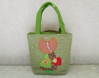 Green Handbags Patchwork Tote Bag Madame Sue Floral Cotton Fabric Cosmetic Bag Make up Bag from Thailand