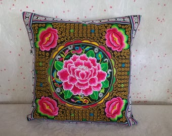 Hmong Pillow Cover - Tribal Embroidered pillow case - Ethnic Pillow Cover - Thai Pillow Cushion 16 inch- Boho Cushion cover Thailand