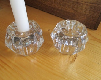 Vintage Cut Glass Votive/Taper Candleholders