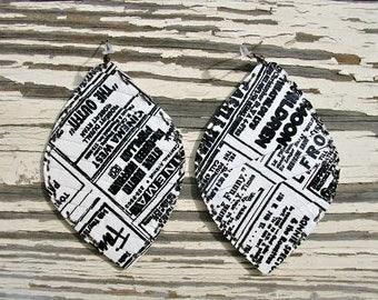 Black & White Newspaper Leather Earrings