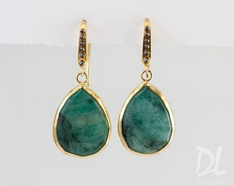 Raw Emerald Earrings - May Birthstone Earrings - Mixed Metal Earrings -  Drop earrings - Gemstone earrings - gold earrings - drop earrings