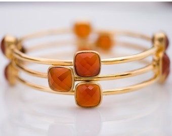 40 OFF - Bangle - Orange Carnelian Bracelet - July Birthstone - Gemstone Bangles - Bezel Set Bangles - Gold Bracelets