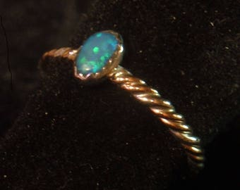 BLACK OPAL RING australian natural size 6 up to size 6.5 sterling silver & 14K gold filled