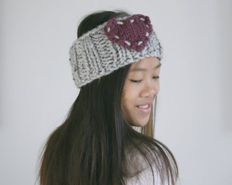 Heart Knitted Headband Ear Warmer in Marble Grey and Fig / L'AMOUR