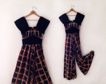 rare 1940s plaid tafetta and velvet palazzo pant jumpsuit/dress  size xsmall
