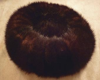 Mink 1960's Pillbox Style Hat.