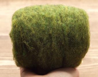 Needle Felting Wool Batting, Moss Green, Wet Felting, Wool Batts, Fleece, Weaving, Spinning, Dyed Wool, Fairy Garden, Fiber Art Supplies