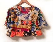 80s Baroque Floral Rococo Royalty Print Rayon Top Upcycled Cropped and Ruffle Trim Slouchy Oversize Top