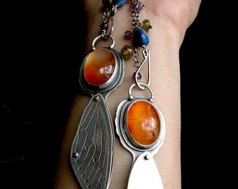 Sterling, Carnelian and Lapis Cicada Totem Necklace - Days of Summer