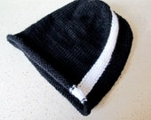 Reserved for Felecia custom black wool beanie with white stripe