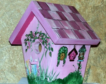 Bird House Hand Crafted, Hand Painted, Indoor/Outdoor, Shades Of Magenta, Great Gift for Mother, Christmas, Birthday
