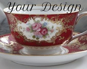 ANY DESIGN - Red and Gold  Customized Vintage Teacup, Personalized China, Monogram Wedding Cup, Bespoke Teacup, Skull China