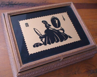 LaBoit Majestic de Cosmetique label 1930s Silhouette Under Glass Jewelry Box,Trinket Box,Letter Box,Carved Wood Lidded Chest,Dresser Box
