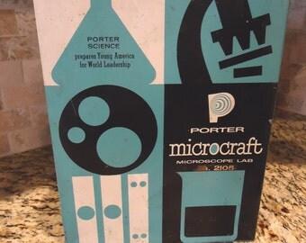 Vintage Microscope, Porter Labs Microcraft science kit, Porter Science microscope kit