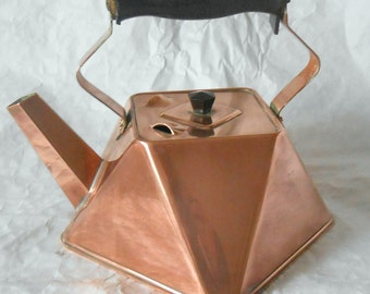 Vintage copper diamond shaped kettle with bakelite handle 1920's