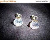 SALE Gorgeous Cubic Zirconia and Sterling Silver Pierced Earrings